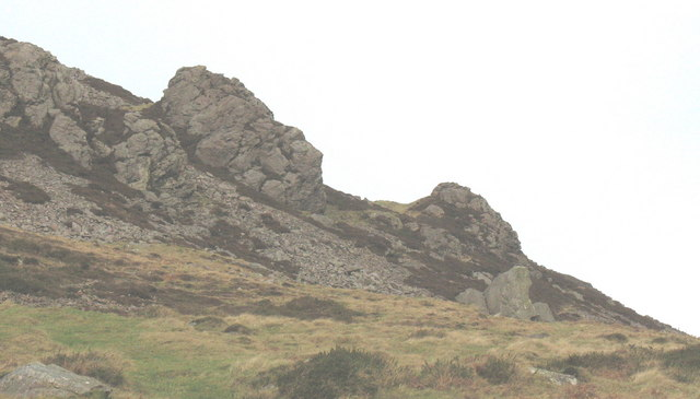Dramatic outcrops of igneous rocks on the lower eastern slopes of Tre'r Ceiri