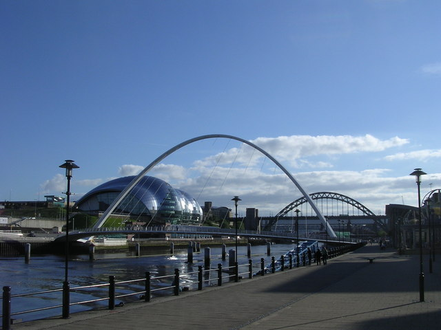 Millennium footbridge & Sage Centre from the North bank of the Tyne