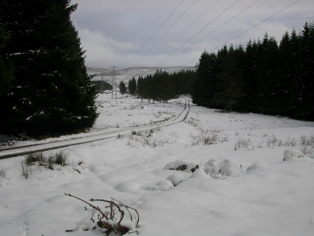 Road near the bridge, in snow