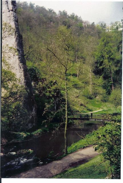 Ilam Rock and footbridge Dovedale