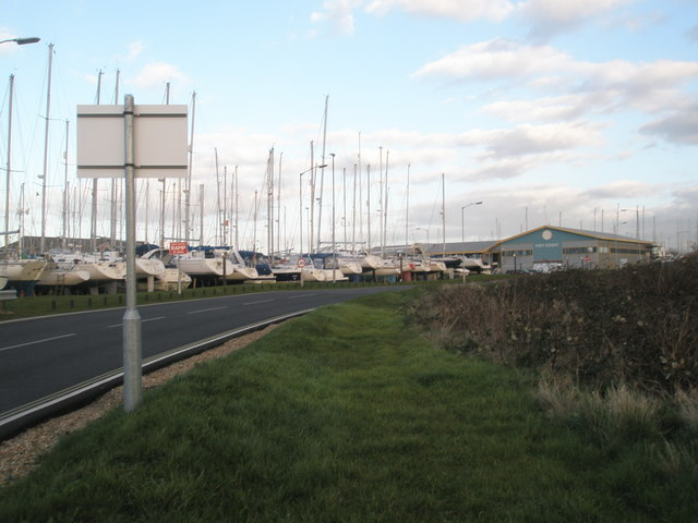 Looking down road from MOD base towards Port Solent