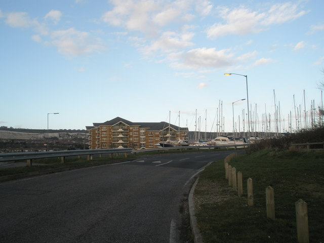 Apartment block at Port Solent from bend in the road