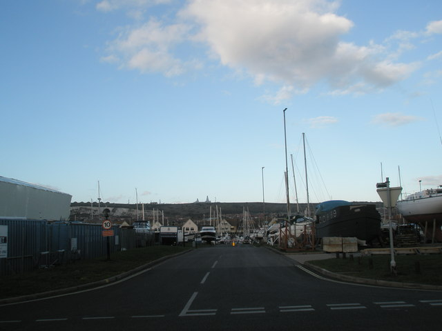 Looking from service road towards The Marina