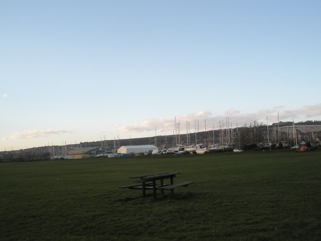 Picnic bench in the middle of Port Solent Rec