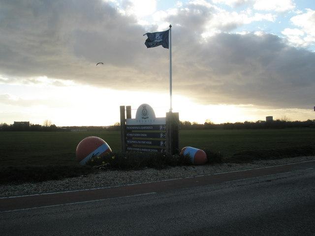 Kite flyer at dusk