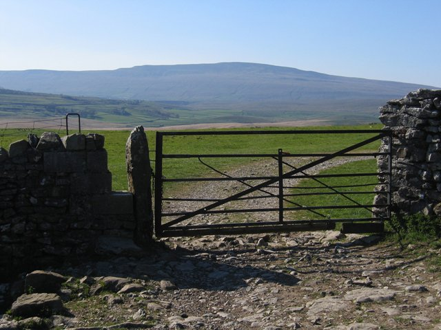Gate and view on the Ribble Way