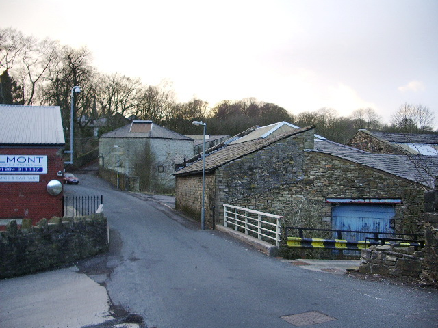 Egerton Road as it passes through the Belmont Dying and Bleach Works