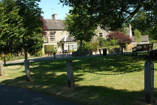 The George Inn & village green at Alstonefield