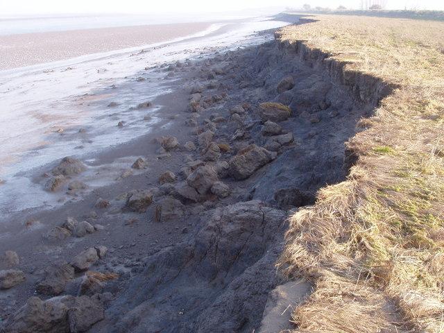 Dee estuary - crumbling embankment