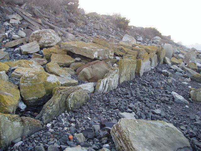 Old sea defence on Dee estuary