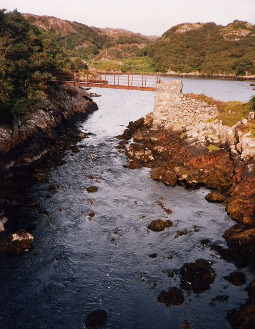 Footbridge over outflow of Lochan Saile