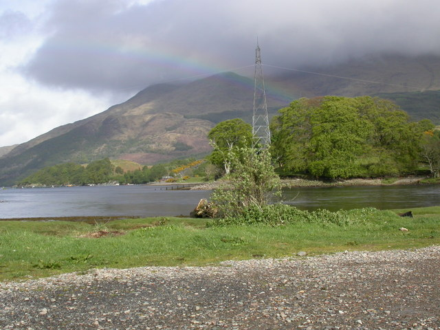 Looking across River Awe from jetty , Loch Etive