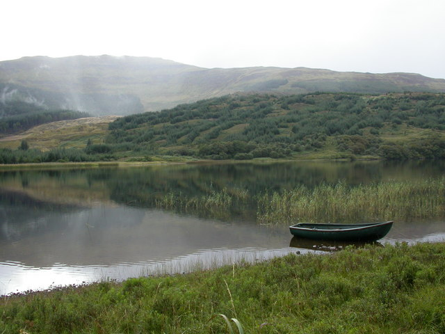 Loch Doire nam Mart with mist rising