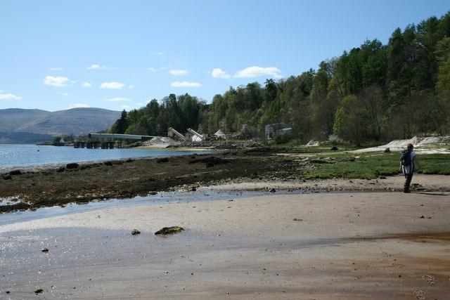 Beach on Loch Aline walking towards Sand Mine