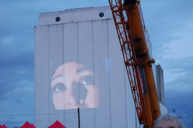 Projection onto the side of Spillers Quay