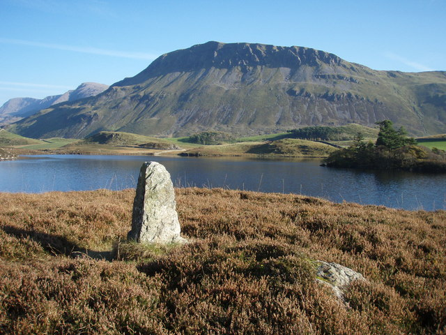 Standing stone, Gregennen Lake with Tyrau Mawr behind