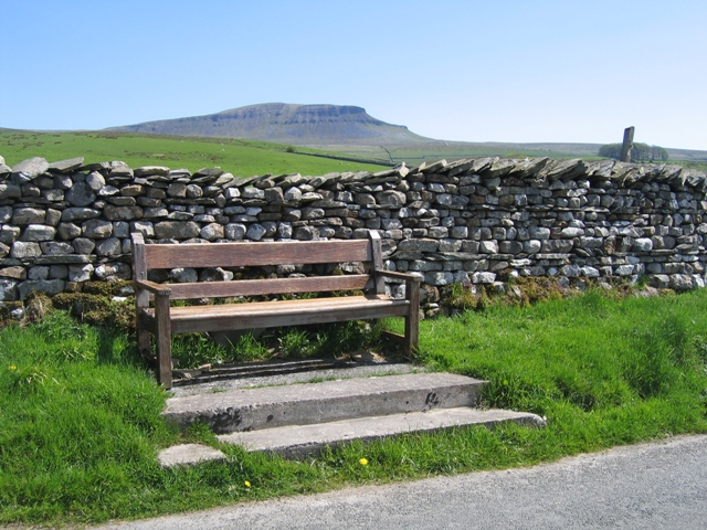 A seat and a view towards Pen-y-ghent