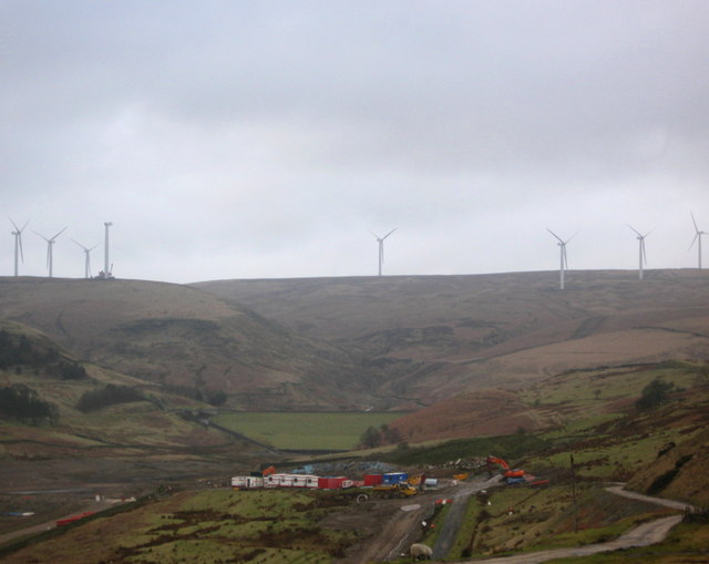 Scout Moor Wind Farm from Naden Reservoirs