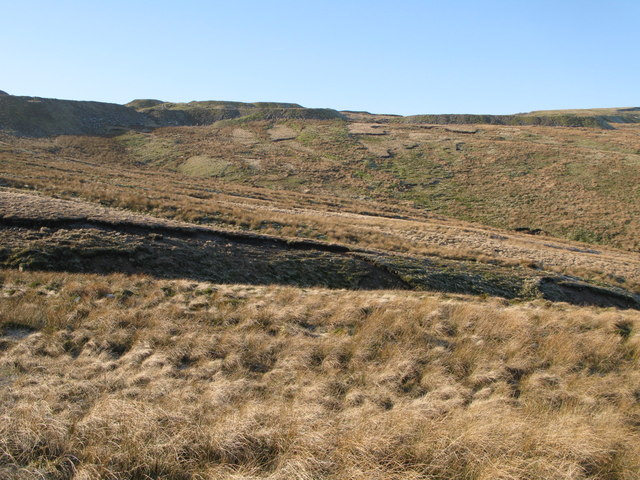 Moorland below the disused quarry at Harthope Head