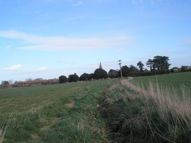 Looking along ditch back towards church spire