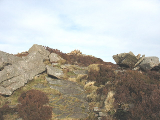 Rock steps leading to the top of the Bronze Age cairn