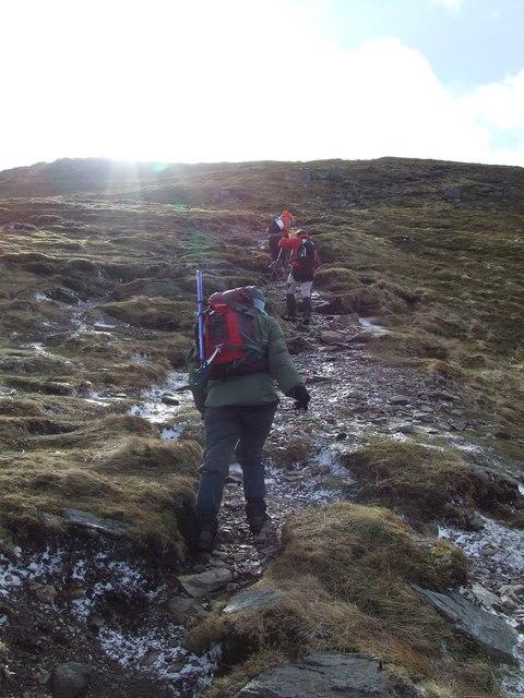 Walkers on the eroded path, Ben Vorlich