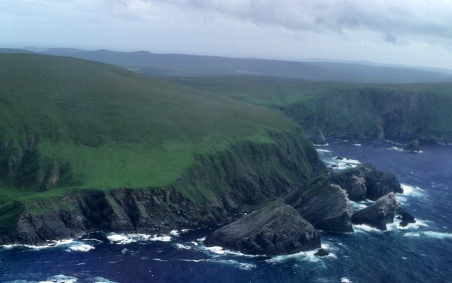 Hermaness Hill and stacks from the air