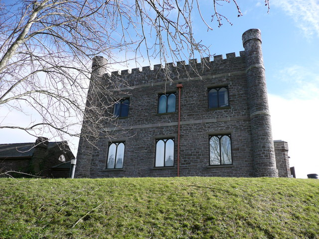 Abergavenny Castle 19th century hunting lodge 'keep'