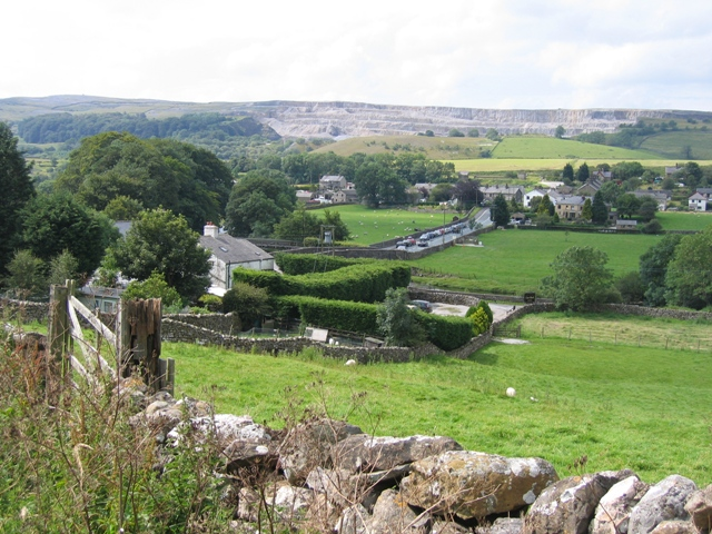 The Crown Inn and Station Road from Harber Scar Lane