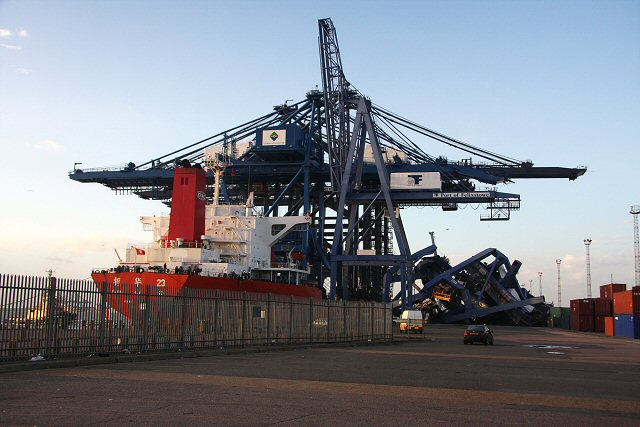 Collapsed cranes at the Port of Felixstowe