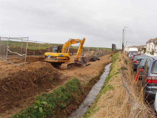 Flood defence works in Flexbury
