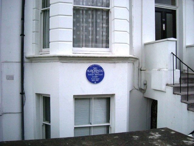Sri Aurobindo's blue plaque