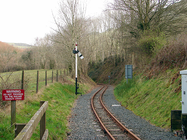 The view eastwards from Aberffrwd level crossing, Vale of Rheidol Railway