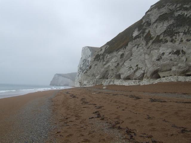 Cretaceous chalk cliffs  west of Durdle Door