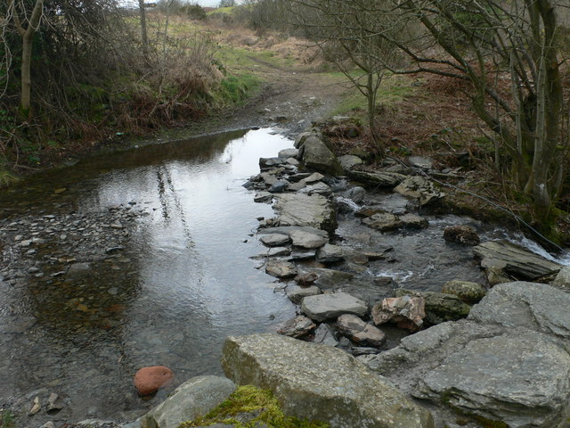 Stepping Stones and Ford across Nant Cawrddu.