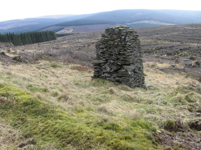 Cairn beside forest track