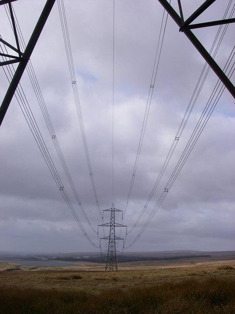 Pylons march over Gwaun y Ffa