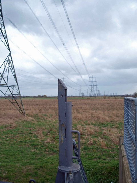 Pylons across the flood plain of the River Trent