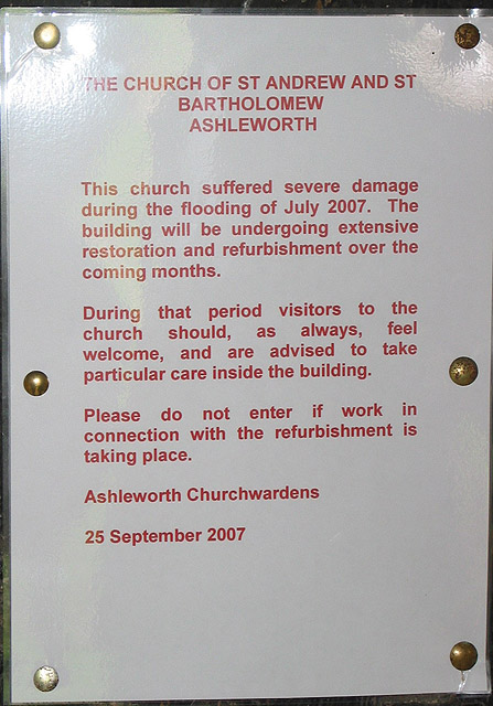 Notice on door of Church of St. Andrew & St. Bartholomew