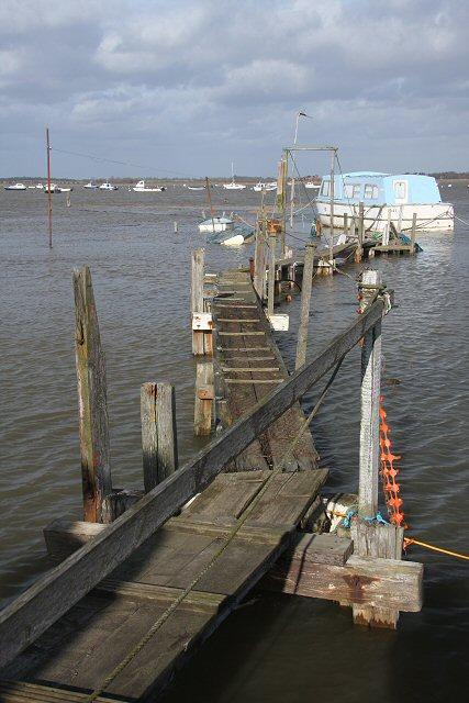 Houseboat and walkway