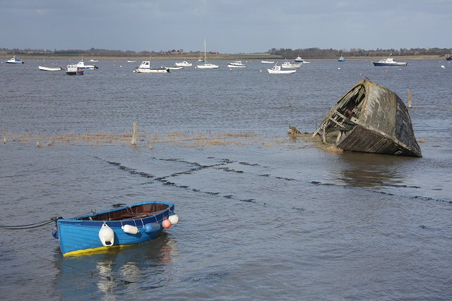Dinghy and wreck