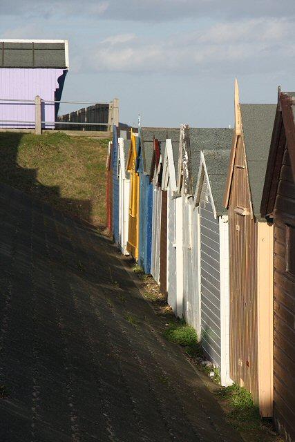 Beach huts at Brackenbury Dip