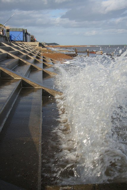 Wave hitting sea defences