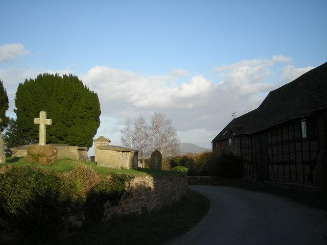 Lane past All Saints Church, Berrington.