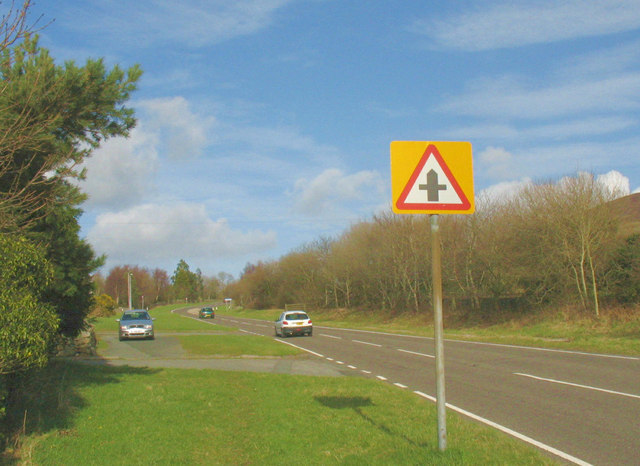 Approaching a minor crossroads on the A4244