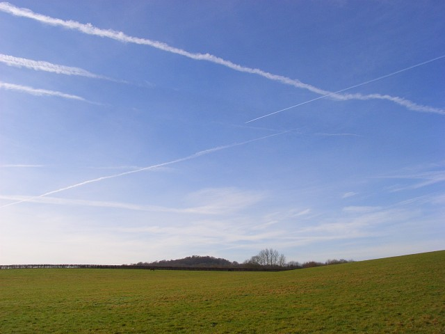 Pasture for horses and vapour trails, Hurley