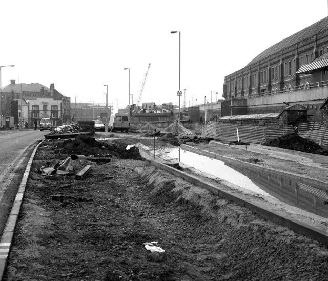 Metrolink ramp alongside GMEX, Manchester