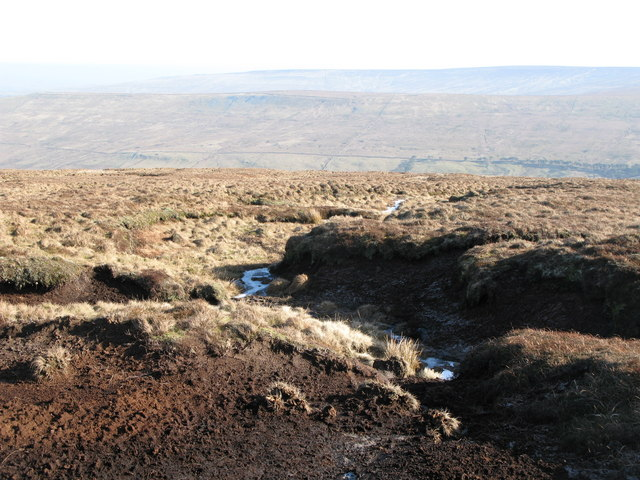 Frozen peat haggs below Chapelfell Top