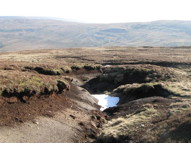 Frozen peat haggs on Chapelfell Top