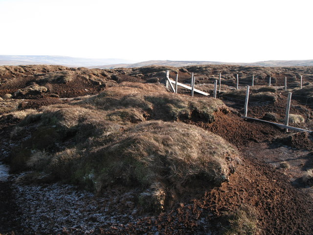 The corner of the boundary fence on Chapelfell Top